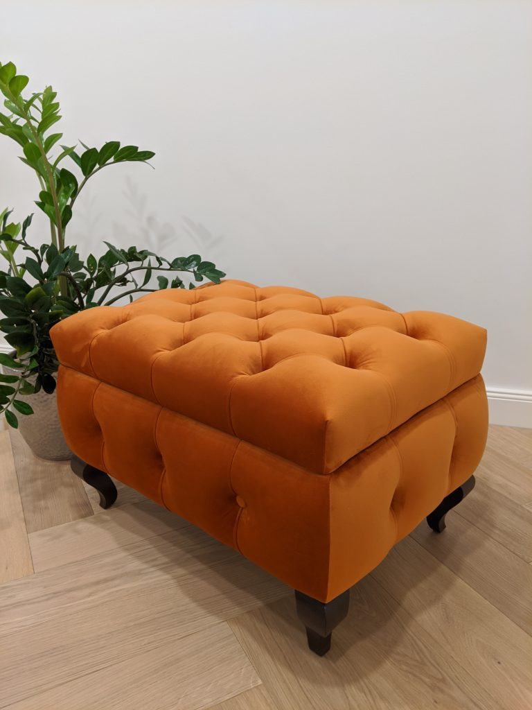 Oranžinis minkštasuolis su daiktadėže - Velvet 23