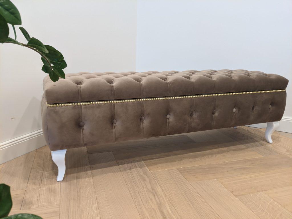 Smėlio spalvos minkštasuolis su daiktadėže - Velvet 35
